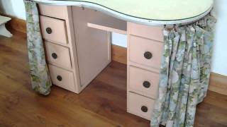 Vintage Painted Shabby Chic Kidney Shaped Dressing Table With Glass Top