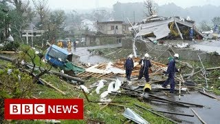 Japan hit by biggest typhoon in decades - BBC News Video