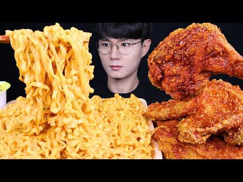 크림 까르보 불닭볶음면 맘스터치 치킨 먹방ASMR MUKBANG SPICY CREAMY FIRE NOODLES & FRIED CHICKEN ラーメン チキン eating sounds