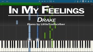 Drake - In My Feelings (Piano Cover) Synthesia Tutorial by LittleTranscriber