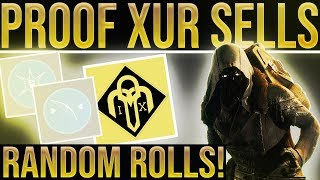Destiny 2.  Xur Does Sell Random Rolls On Year 1 Exotics. Proof They Are Different From Collections