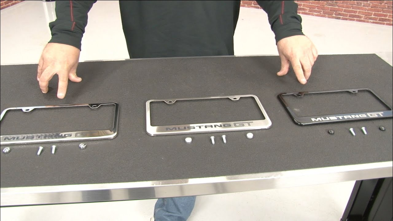 Mustang License Plate Frame Stainless Steel With GT Logo - YouTube