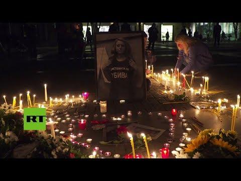 Vigilia con velas por periodista asesinada en Bulgaria