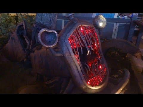 "Terrifying ""zombie car"" in Cars Land Haul-O-Ween during Halloween Time at Disneyland Resort"