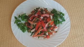Остренький салат с мясом и фасолью