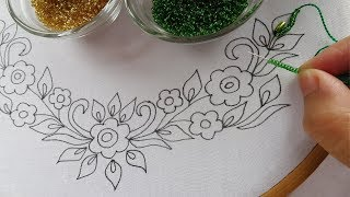 beaded hand embroidery neck design for dress,beads work, easy neck stitches