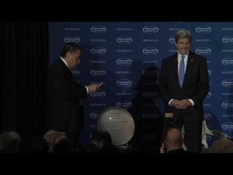 Mr. Haim Saban Unveils a Plaque for Secretary Kerry