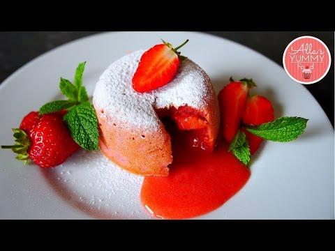 Strawberry Lava Cake Recipe | Valentine Day Recipes