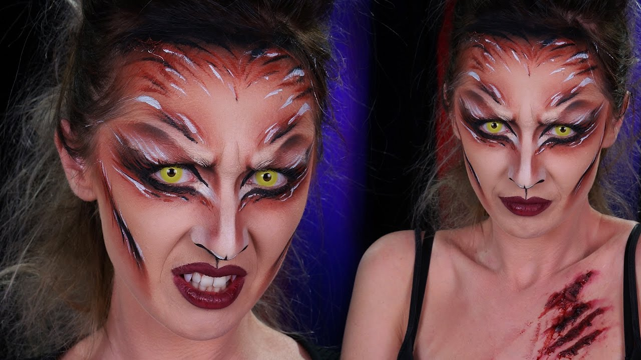 Maquillage Halloween Loup Garou // Fausses griffures faciles et rapides ,  YouTube