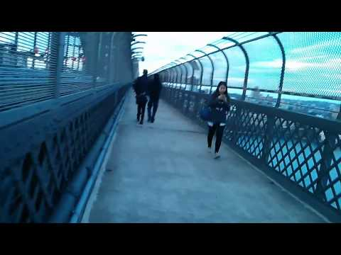 Walking across the Sydney Harbor Bridge