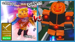 Buying The New Max Power Light Saber and Defeat Giant Pumpkin Boss In Roblox Saber Simulator