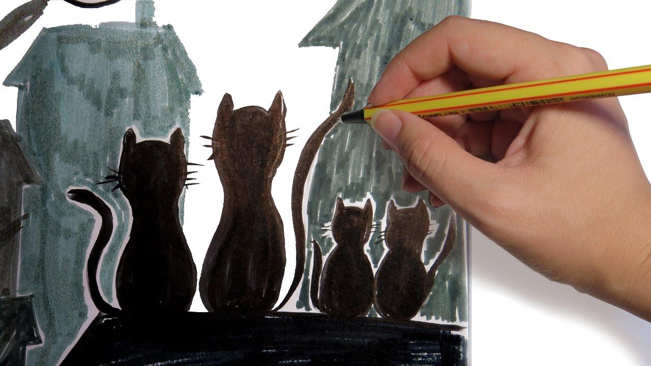 Como Dibujar Siluetas De Gatos Facil Paso A Paso Youtube