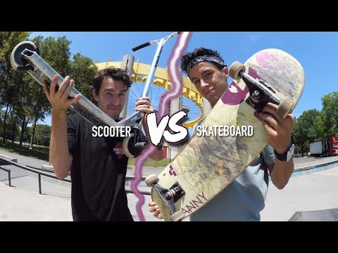 SCOOTER VS SKATEBOARD! WHAT'S EASIER?