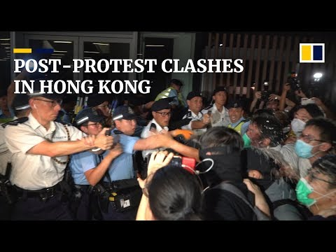 Violent clashes break out after Hong Kong march against extradition bill