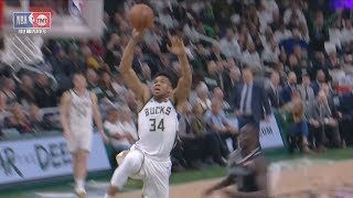 Giannis Free Throw Line Dunk Game 1 vs Pistons! 2019 NBA Playoffs