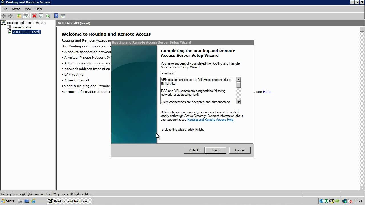 Routing and Remote Access - Windows Server 2008 SP2