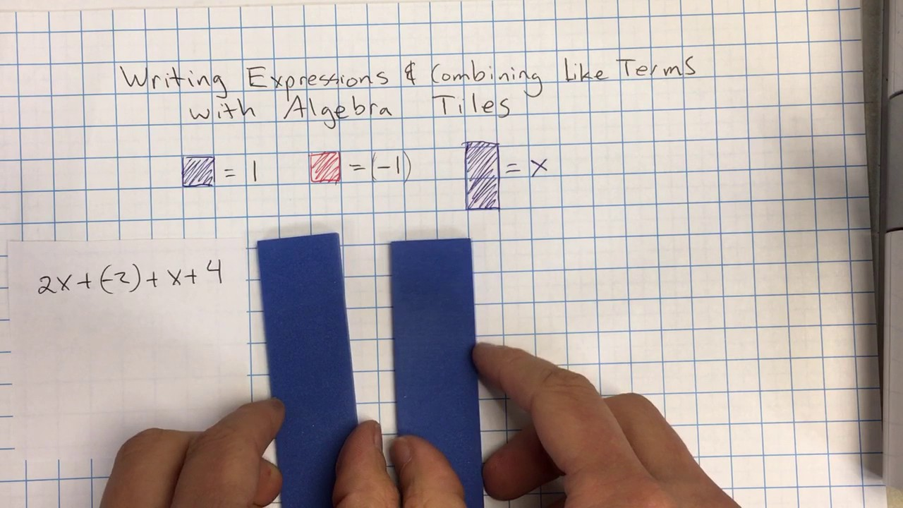 Algebra tiles worksheet combining like terms
