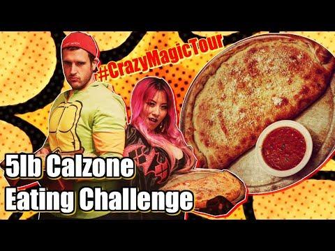 5lb Calzone Eating Challenge In Portland, Oregon | Ft. Magic Mitch | CrazyMagicTour - RainaisCrazy
