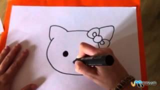 Como desenhar a cara da Hello Kitty