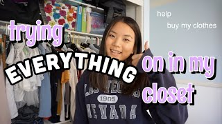 trying on EVERYTHING in my closet (declutter)