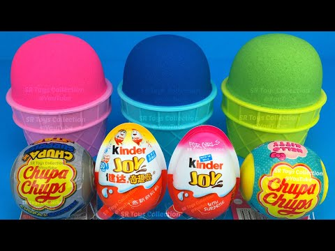 3 Color Kinetic Sand in Ice Cream Cups   Surprise Toys Chupa Chups Yowie Kinder Surprise Eggs