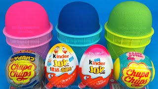 3 Color Kinetic Sand in Ice Cream Cups | Surprise Toys Chupa Chups Yowie Kinder Surprise Eggs