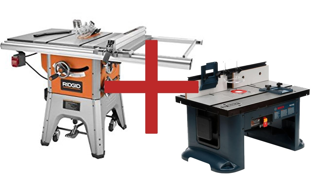 Superb Combination Saw Bench Part - 11: Ridgid Table Saw R4512 Mount Bosch Router Table RA1181 Workshop Space Saver  - YouTube