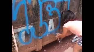 Little Girl Spray Painting graffiti - Throwies - Future graffiti Artist