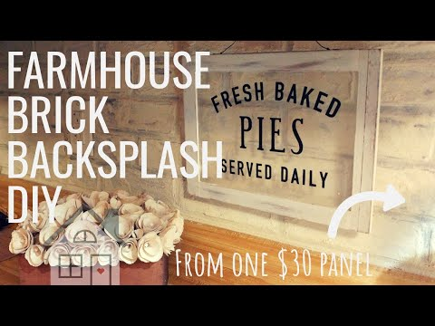 DAY 14 TUTORIAL: DIY Farmhouse Brick Backsplash | Brick Paneling DIY | Farmhouse DIY | Fixer Upper