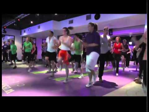 Dublin kids open the world's BIGGEST group exercise studio at West Wood Clubs, Ireland.