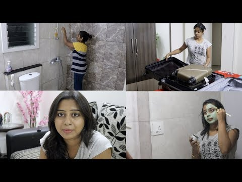 My Bathroom Deep Cleaning Routine -  Packing for Kolkata || Indian Vlogger Soumali