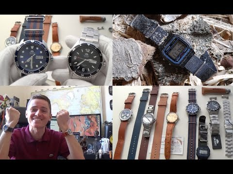 Orient Blue Ray II & Mako II Review, New Leather Straps, Casio F-91W Nato & Marathon Steel Bracelets