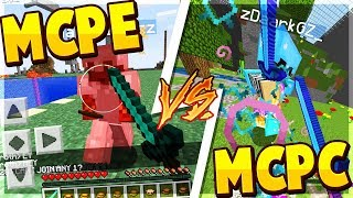 MCPE VS MCPC PVPING!!! ⚔️ - Minecraft PE (Pocket Edition)