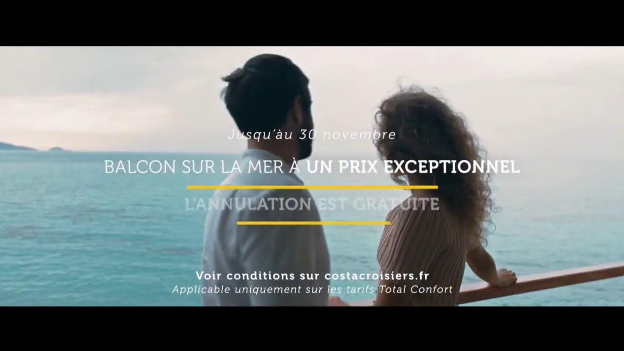 """Musique de la pub Costa Croisières """"balcon sur la mer à un prix exceptionnel""""  2021"""