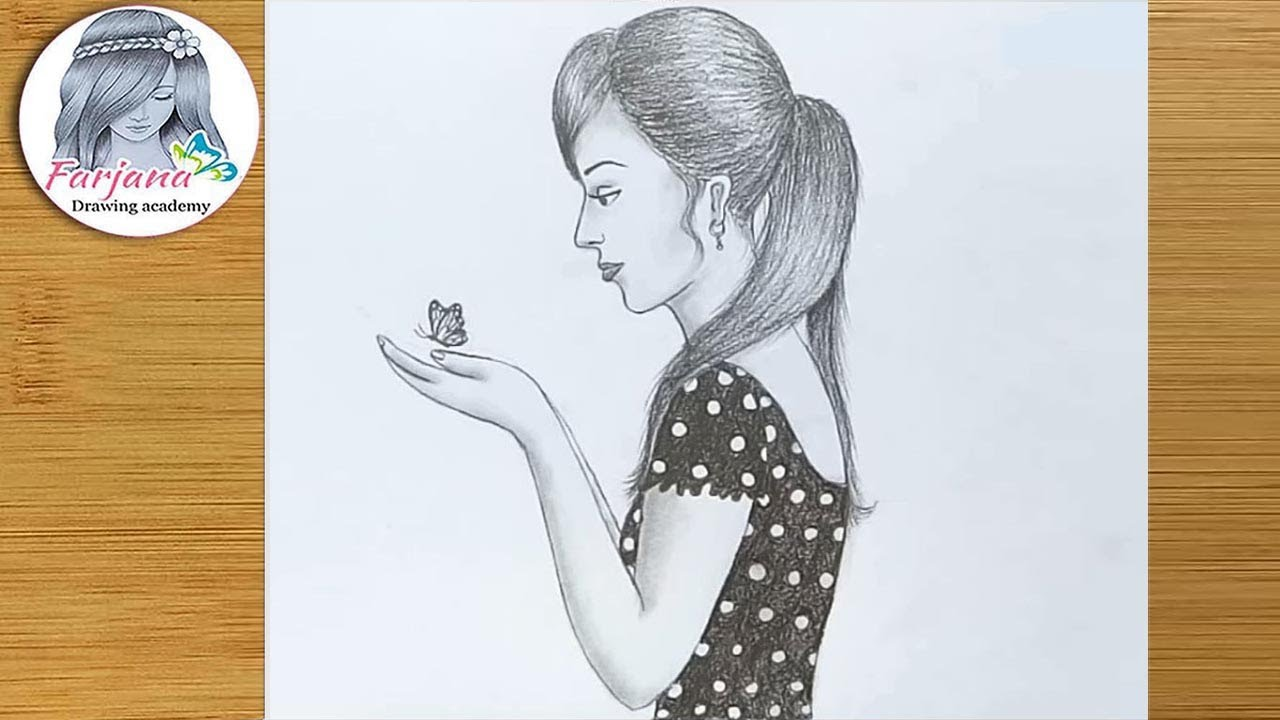Girl with butterfly drawing for beginners pencil sketch