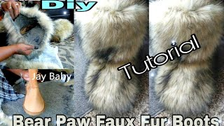 DIY BEAR PAW FAUX FURRY FUR BOOTS TUTORIAL/ JAY BABY