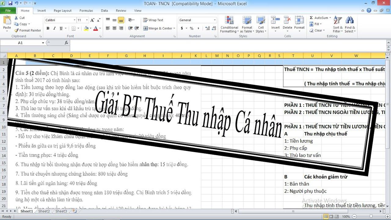 Giải nhanh Bài tập Thuế Thu nhập cá nhân II Giải chi tiết bài tập thuế TNCN