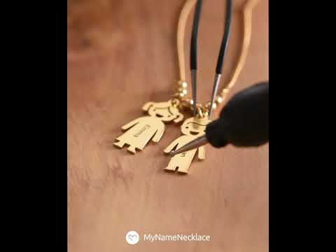 1b69fcce9 Mother's Necklace with Engraved Children Charms - YouTube