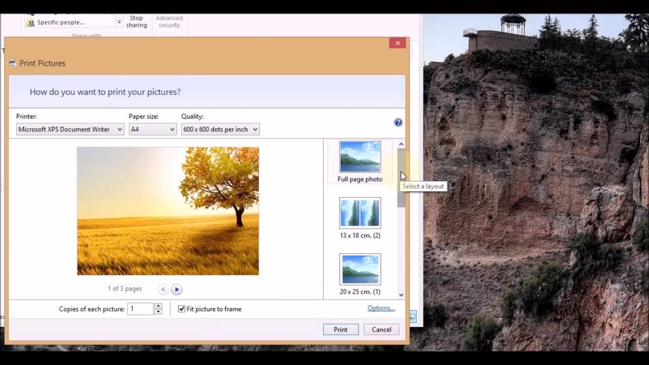 selecting multiple pictures for print without special software on