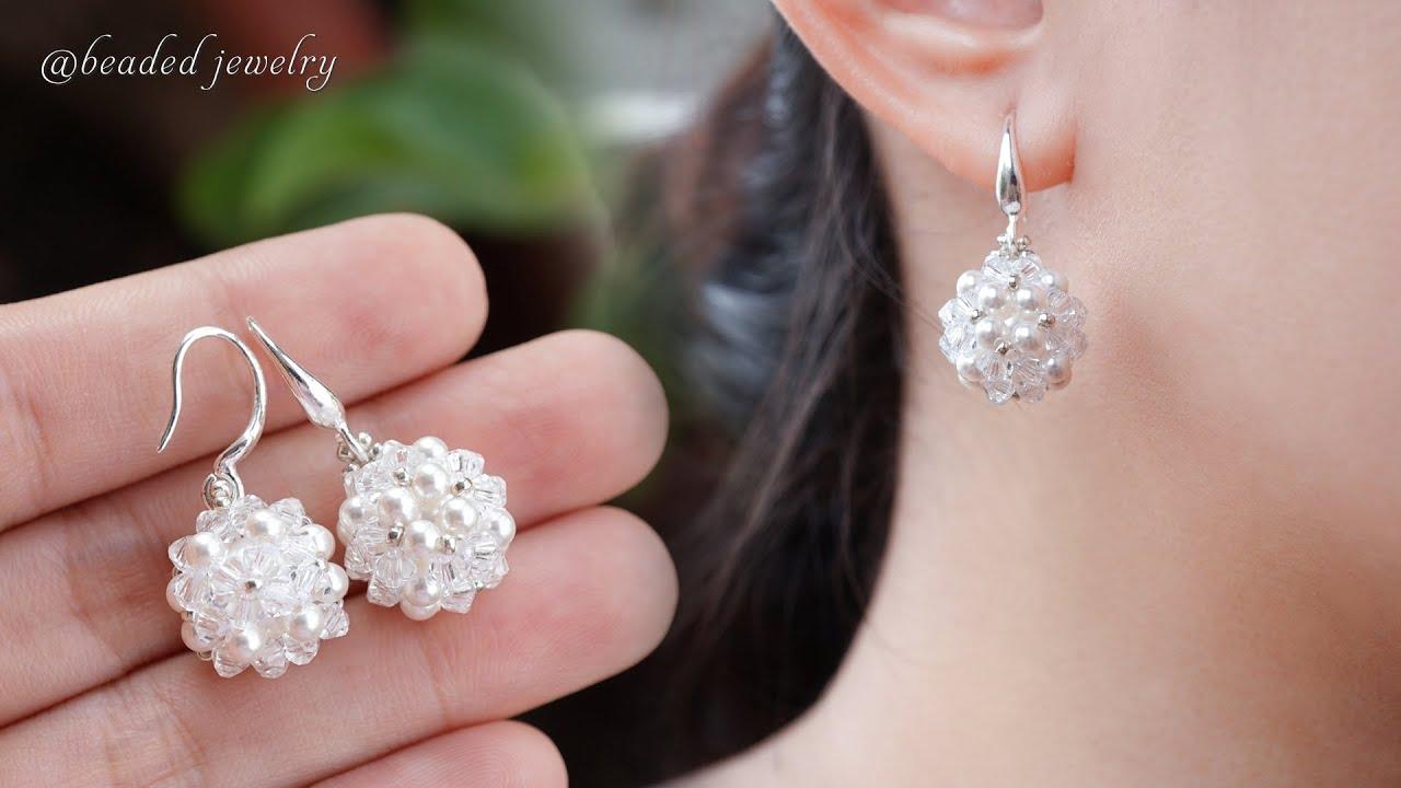 Download Swarovski beaded ball earrings. Super easy to make for beginners. Beading tutorial