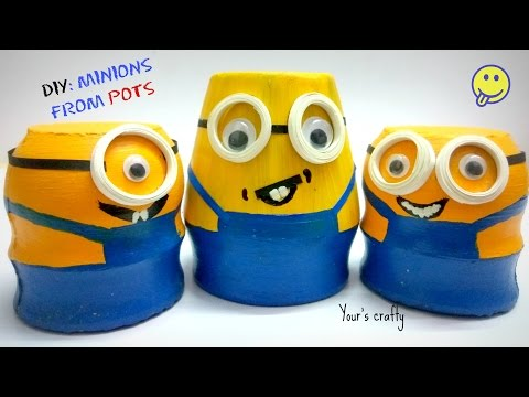DIY minion craft : Simple and easy from small pot for Kids | Quilling art  | Gifts | craft ideas