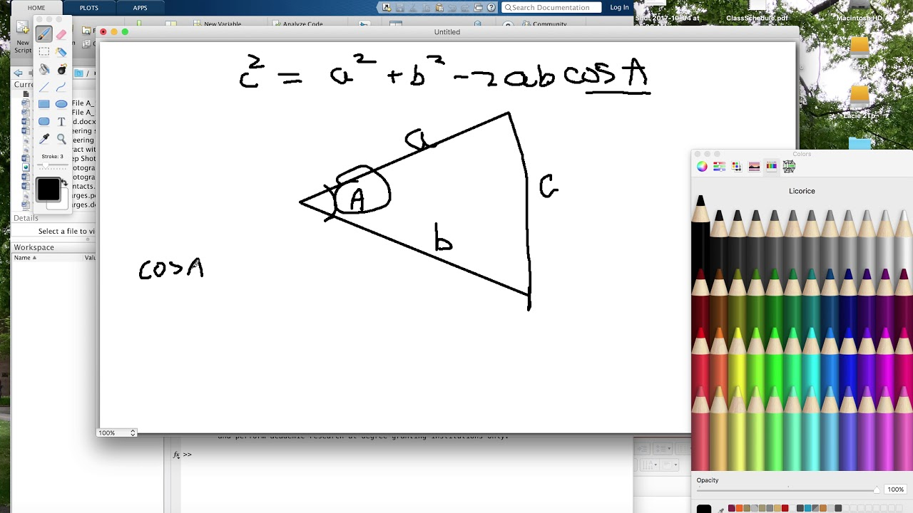 Matlab Compute the Angles and side lengths of a Triangle given Vertex  coordinates