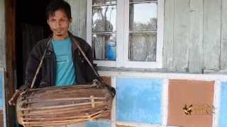 Khasi tribe Mridangam musical instrument in Meghalaya, North East India.