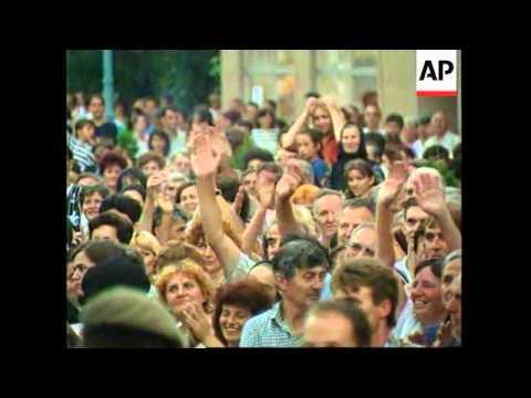 BOSNIA: BIJELJINA: PRESIDENT PLAVSIC ADDRESSES POLITICAL RALLY