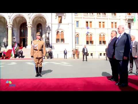 PM Netanyahu and Mrs Netanyahu arrive at the Hungarian Parliament in Budapest