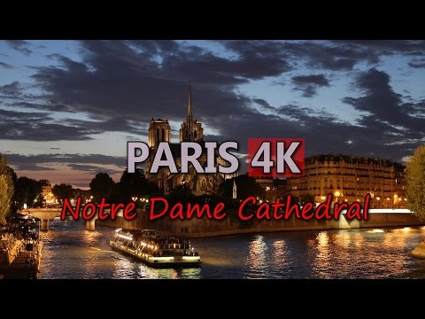 Ultra HD 4K Paris Travel Notre Dame Cathedral France Tourism Tourist Attraction Video Stock Footage