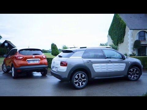 Renault Captur vs Citroën C4 Cactus : l'essai comparatif en vidéo (2014): Le Renault Captur 1.5 dCi Intens affronte le Citroën C4 Cactus 1.6 e-HDi Shine Edition dans cet essai vidéo de Maxime Fontanier. Et vous, lequel préférez-vous ?  Plus d'infos sur www.largus.fr