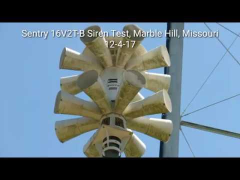 Sentry 16v2T-b siren test, Marble Hill, Mo (Bollinger co. Tornado Siren Test)