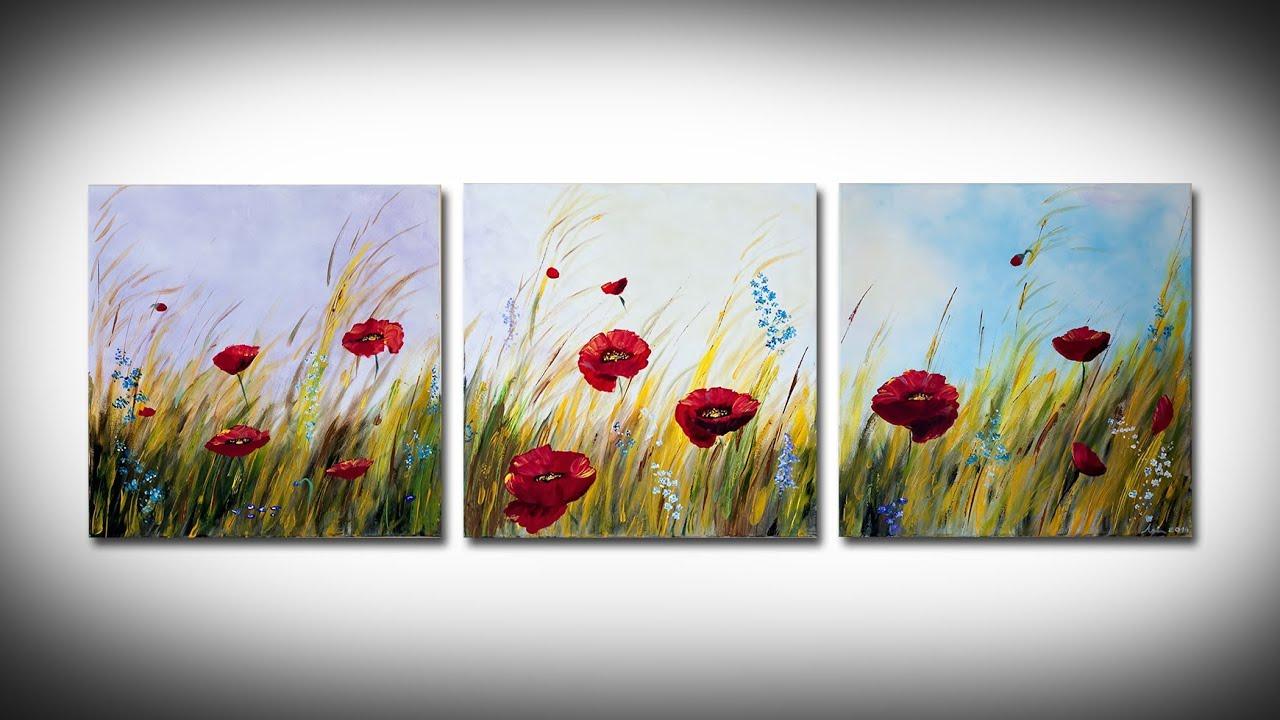 Easy Acrylic Poppy Painting