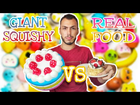 GIANT SQUISHY VS REAL FOOD | Tsede The Real